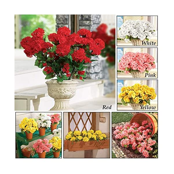 yueyue947 / Arbusto Floral de Geranio Artificial, Juego de 3 – Flores Artificiales sin Mantenimiento para la exhibición…