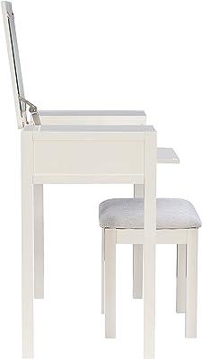 Linon White Flip Top Mirror and Stool Jaycee Vanity Set