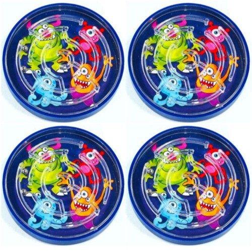 German Trendseller® - 4 x Monster Spiel Labyrinth ┃ Geschicklichkeitsspiel ┃ Monster Party ┃ Kindergeburtstag ┃ Kinder lieben Diese grusel Monster Labyrinthe! …