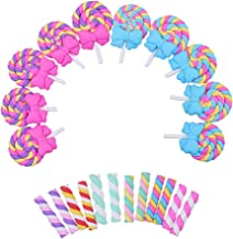 44pcs Kawaii Craft Slime Charm Lollipop with Bow and Candy Clay Flat Back Flatbacks Loose Beads Kid's Bow DIY Craft Scrapbooking Decoration Phone Cover