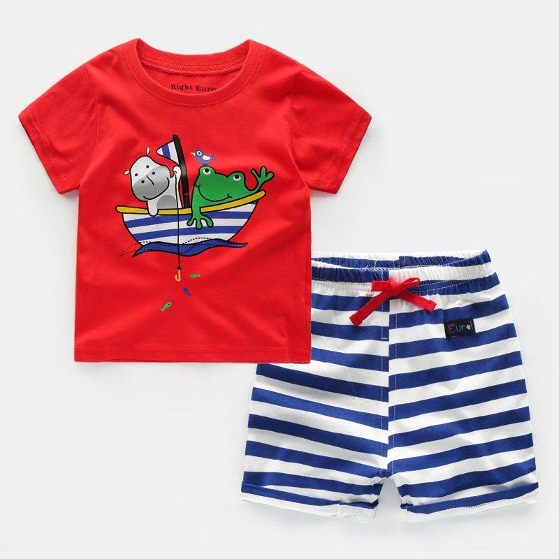 欧米澳 2019新款童装夏装男童T恤纯棉儿童短袖宝宝上衣圆领三件装