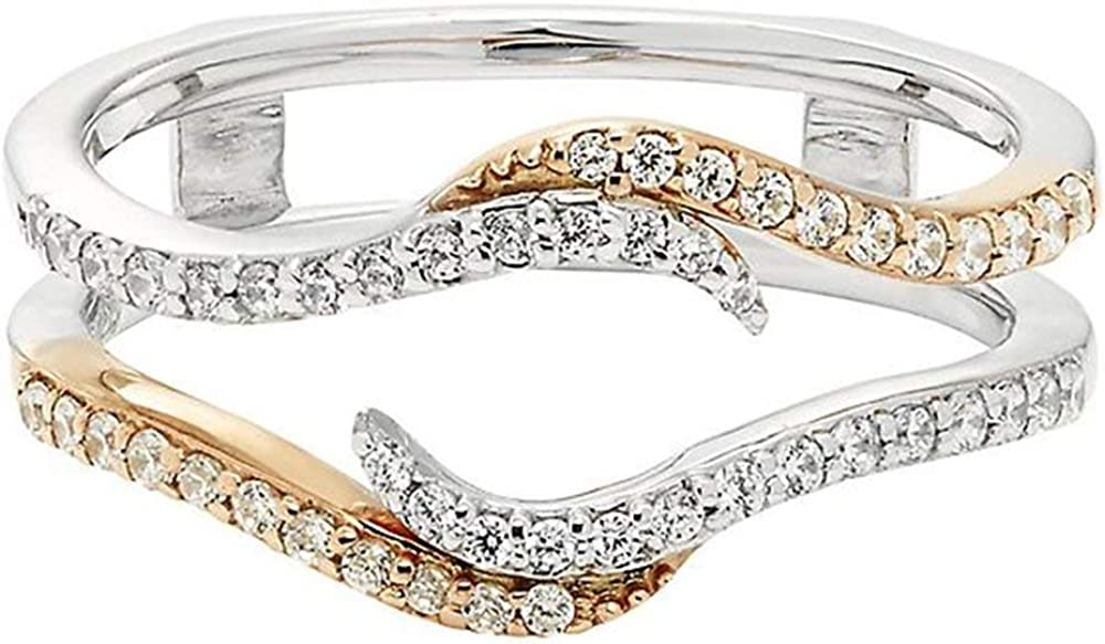 14K 67% OFF of fixed price TwoTone Gold Over Sterling Solitair Simulated Diamond Ranking TOP4 Silver