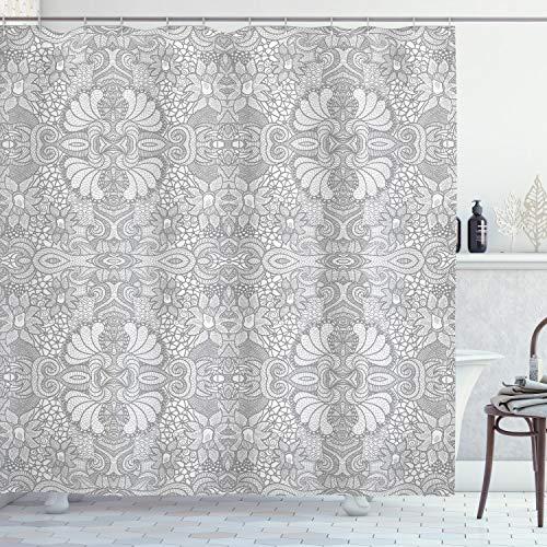 ABAKUHAUS asiatisch Duschvorhang, Floral Paisley Spitze wie, mit 12 Ringe Set Wasserdicht Stielvoll Modern Farbfest & Schimmel Resistent, 175x180 cm, Weiß & Schwarz