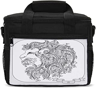 Zodiac Decor Durable Lunch Bag,Visage of Zodiac Leo with Flowers on Hair King of Forest Horoscope Theme for Daily Use,9.4
