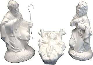 Ceramic Bisque - Ready to Paint - Nativity Set (3 Piece) - Mary, Joseph, & Baby Jesus.