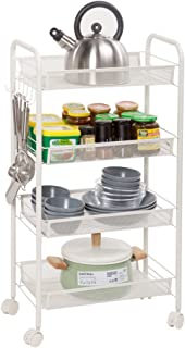 Home Kitchen Cart,4-Tier Basket Stand Rolling Microwave Cart with 5 Side Hooks/Multifunction Utility Cart/Kitchen Storage Cart on Wheels,Removable Storage Rack, Full-Metal (Ivory White) (4-Tier)