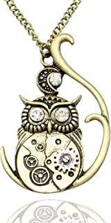 Vintage Ornate 3D Owl Moon Watch Clock Hand Gear Cog Steampunk Chain Fancy Dress Necklace
