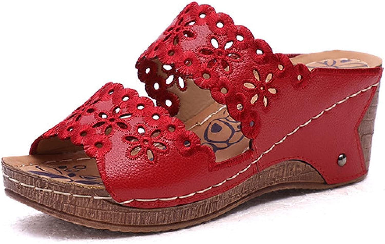 Women's Wedges Platform Sandals Hollow Vamp Open Toe Slip On High Heels Vintage Cork Platform Shoes