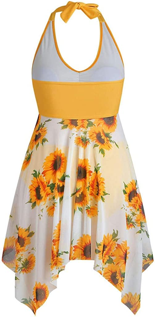 Ellymi Women's Two Piece Halter Split Free Shipping Cheap Large special price !! Bargain Gift Two-Piece Print Sunflower