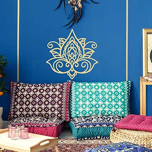 Flor de loto Etiqueta de la pared Mandala Etiqueta de la pared de loto Boho Calcomanía Patrón marroquí Bohemio Budista Boho Dormitorio Yoga Decoración dorado