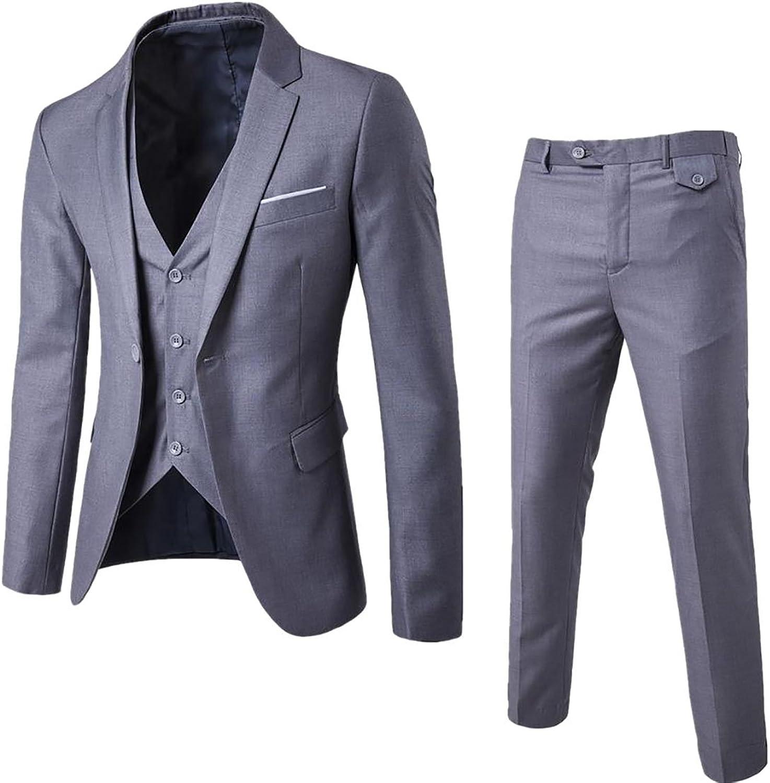 Fulok Men's Slim Fit Suit Blazer Jacket Tux Vest Pants 3 Pieces Set