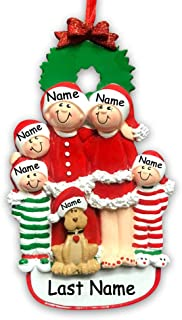 Personalized Holiday Family 5 Dog Hanging Christmas Ornament Family in Christmas Pajamas Santa Claus Hats Custom Names