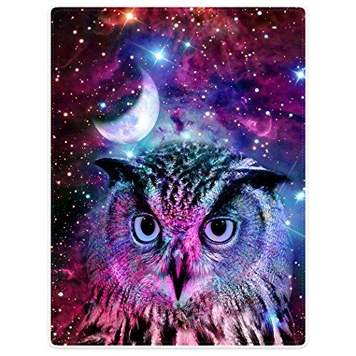 Violetpos Dick Decke Weich Wärme Gemütlich Flanell-Fleece Sofadecke Deckeldecke Eule Mond Lila Galaxie Universum Tier 150 x 200 cm