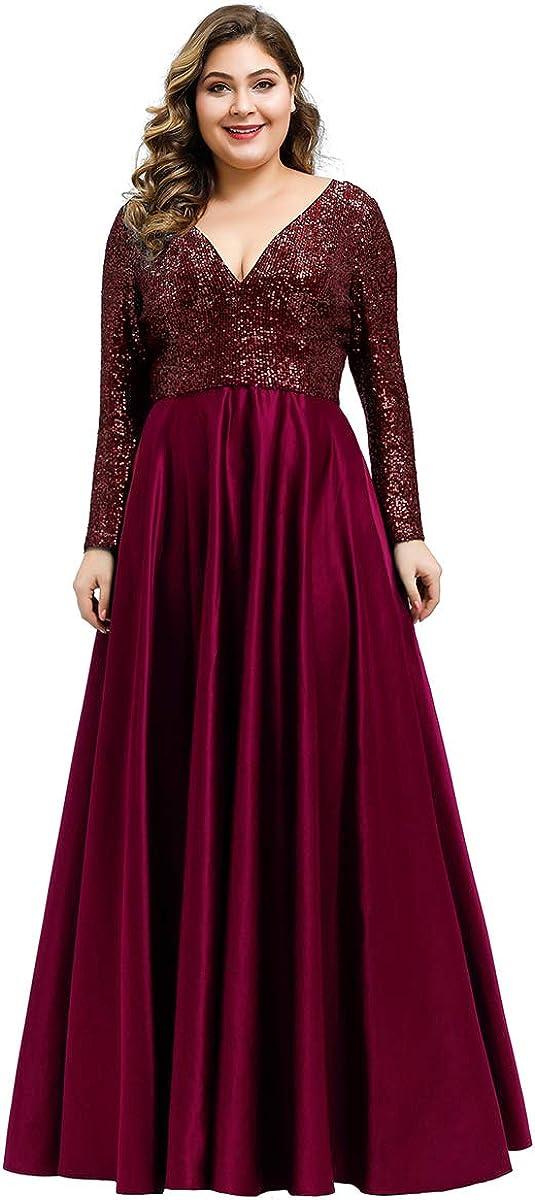 Ever-Pretty Women's Sexy V-Neck Sequin Dress Patchwork Evening Dress Plus Size 0817