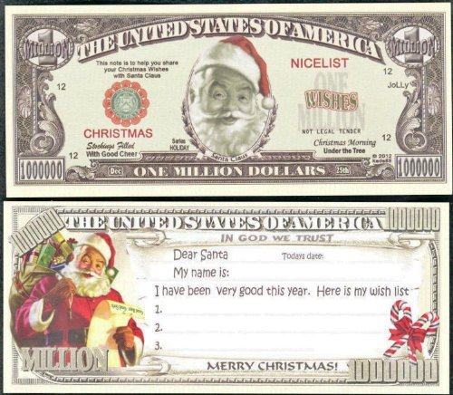 Santa Wish List Christmas Novelty Million Dollar Bill Lot of 100 Bills