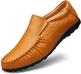 HUANGAIHUA Men's Classic Business Penny Loafers Soft PU Leather Dress Wedding Breathable Casual Shoes Anti-slip Flat Round Toe Slip-on Fleece Inside (Color : Light-brown, Size : 49 EU)