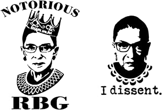 Notorious RBG (Ruth Bader Ginsburg), I Dissent Decals (Black)