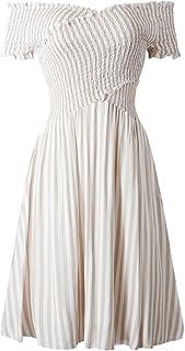 Verano rayas un hombro vestido para mujer