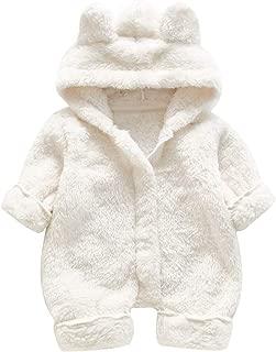 Infant Baby Girls Boys Bear Ear Zipper Thick Warm Flannel Coral Fleece Plush Hoodie Coat Jumpsuit Romper(0-2Y)