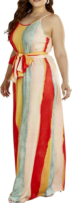 YIGC Women Plus Fashionable Size Maxi Color PrintedSolid Dresses Max 50% OFF Striped Bo