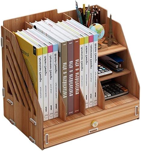 Willesego Bücherregal von Büro Schreibtisch Aufbewahrungsboxen Aufbewahrungsboxen Dokument Halter Aufbewahrungsboxen Dokument Lagerregale Holzregale, B (Farbe   A, Größe   -)