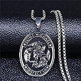 DOOLY AFAWA Saint Michael Protect US Arcángel Collar de Acero Inoxidable para Hombres Collar de Color Plateado Joyas de Cadena Joyas