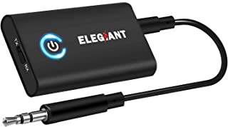 Bluetooth 5.0 Transmitter Receiver, ELEGIANT 2-in-1 Bluetooth Adapter with 3.5mm AUX Stereo Output(aptX Low Latency,Pair with 2 Bluetooth Devices Simultaneously) for PC/TV/Home Car Sound System