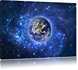 Planet Erde im Weltraum, Format: 120x80 auf Leinwand, XXL
