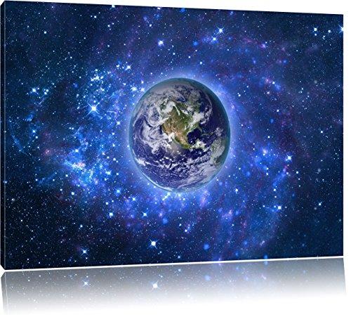 Planet Erde im Weltraum, Format: 100x70 auf Leinwand, XXL riesige Bilder fertig gerahmt mit Keilrahmen, Kunstdruck auf Wandbild mit Rahmen, günstiger als Gemälde oder Ölbild, kein Poster oder Plakat