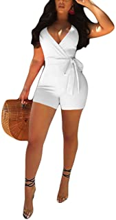 Akmipoem Women's Spaghetti Strap Romper Wrap Front V Neck Solid Shorts Jumpsuit with Belt