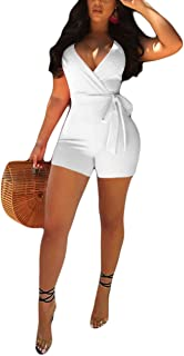 Women's Spaghetti Strap Romper Wrap Front V Neck Solid Shorts Jumpsuit with Belt