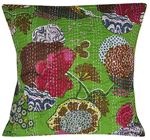 Nandnandini – Indien fait à la main de décoration Couvre-lit Taie d'oreiller Kantha Housse de coussin Canapé Voiture Décoration de maison Taie d'oreiller Oreiller Housse de coussin
