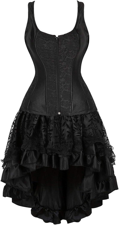 Steampunk Plus Size Clothing & Costumes Kranchungel Steampunk Corset Skirt Renaissance Corset Dress for Women Gothic Burlesque Corsets Costumes  AT vintagedancer.com