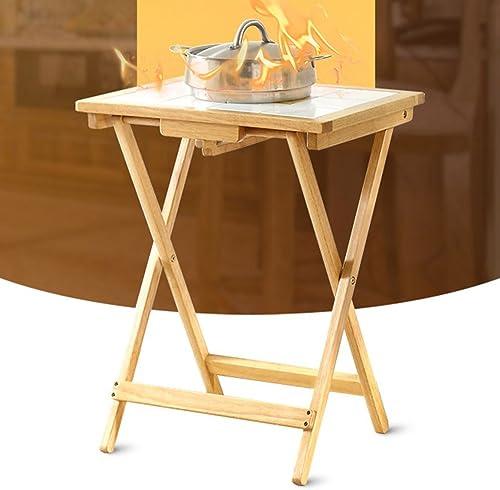 Table pliante réglable en Bois Massif Table en Bois de ménage Chambre à Manger Table carrée 2 Couleurs Disponibles 645  500mm Peut être tourné (Couleur   B)
