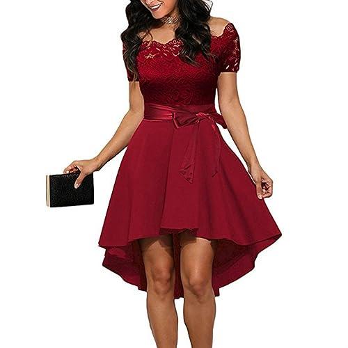 d3880220b56 FANTIGO Mujer Vestido de Noche sin Mangas con Cuello en V para Cocktail  Dress