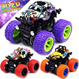 Monster Trucks Toys for Boys - Friction Powered 3-Pack Mini Push and Go Car Truck Playset for Boys Girls Toddler Aged 3 4 5 Year Old Gifts for Kids Birthday (Purple, Red, Orange, 3-Pack)