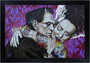 Undying Love by Mike Bell Frankenstein Monster Tattoo Framed Wall Art Print