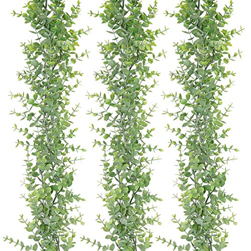 summer flower 3 Pack Faux Eucalyptus Garland,Artificial Eucalyptus Greenery Garland Vine for Room Decor,6 Feet/pcs,Wedding Backdrop Arch Wall, Dinner Table Holiday Party Outdoor Christmas Decorations