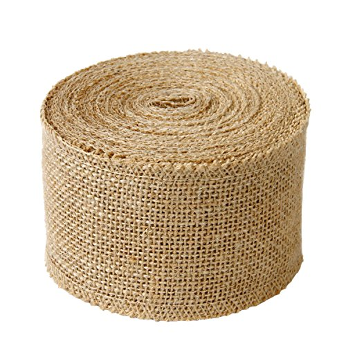 LaRibbons 3' Wide Burlap Fabric Craft Ribbon On Spool 10 Yards, 01 Tan
