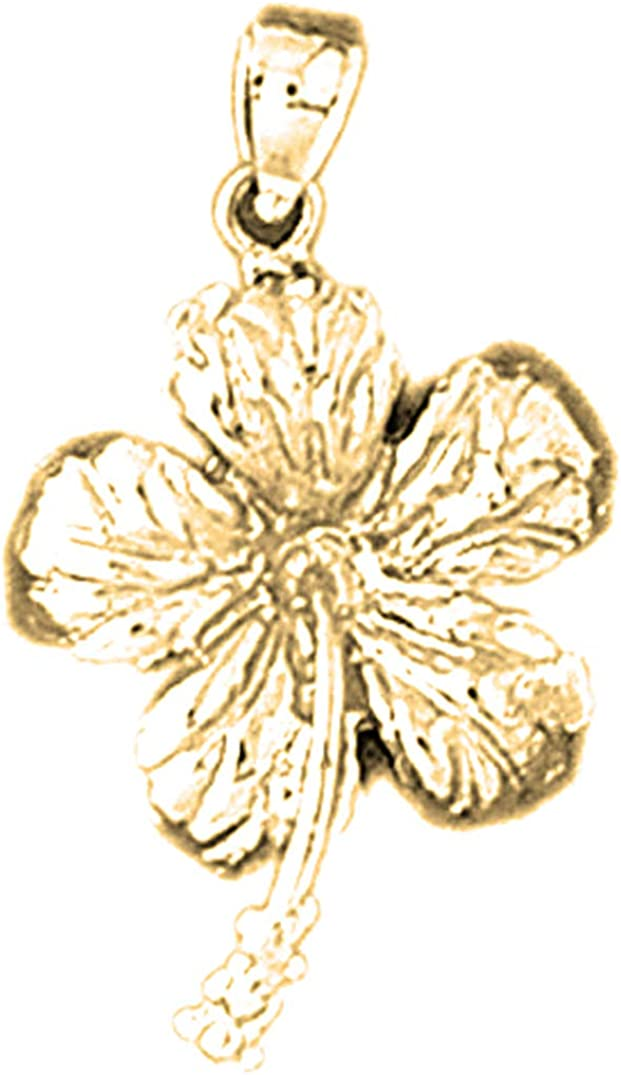 Max 48% OFF Austin Mall Jewels Obsession Silver Hibiscus Flower Yellow Gol Pendant 14K