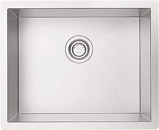 "MENSARJOR 22""x18"" Undermount Single bowl 18 Gauge Handmade Stainless Steel Kitchen sink"