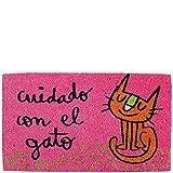 Laroom Felpudo diseño Cuidado con El Gato, Jute & Base Antideslizante, Rosa, 40 x 70 cm