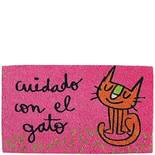 laroom deurmat ontwerp voorzichtig met de kat, jute en anti-slip basis, roze, 40 x 70 x 1,8 cm