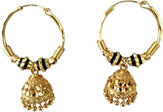 d24b8a9a32ff1c ROLD GOLD Gold Plated Fancy Hoop bali earing Gold Design (size-2.5 cm)