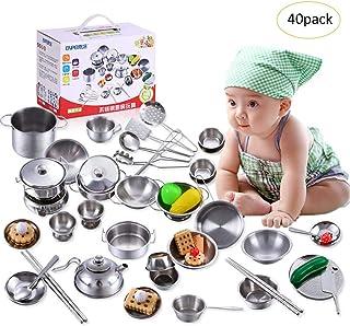Juguete de los niños Ollas de acero inoxidable Sartenes Colador Utensilios de cocina Cocina de juguete