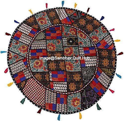 Funda de cojín de meditación, color negro, diseño de patchwork redondo, estilo bohemio, hecho a mano, hecha a mano