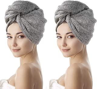 nobrand Asciugacapelli Asciugamano Turbante con Bottone Asciugamano in Microfibra 2 Pezzi Asciugamano Super Assorbente Asciugamano per Capelli