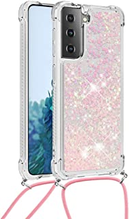 MEIKONST Galaxy S21/ S30 Bling Quicksand Case Clear Soft TPU Silicon Shockproof Bumper Cover with Silver Pink Hearts Glitt...