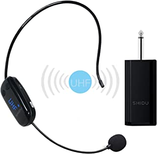 Professional Wireless Microphone, UPGRADED Cordless Mic, Stable UHF Hands-free Wireless Headset Microphone