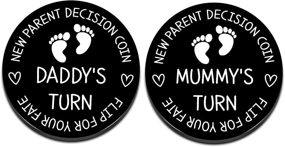 Funny New Mom Dad Decision Coin Gifts for Parent First Time Mother to Be Pregnancy New for Women Men Christmas Birthday Mothers Fathers Day Mummy Daddy Present Black Double Sided